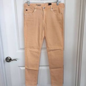 AG legging ankle peach colored jeans